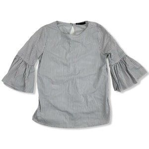 Gibson Womens White Striped Blouse 3/4 Sleeve
